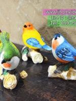 ของแต่งบ้านวินเทจเก๋ๆ นกเรซิ่น 4 ตัว ยืนบนขอนไม้