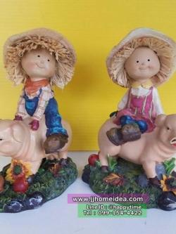 ตุ๊กตาเรซิ่นแต่งบ้านน่ารักไม่เหมือนใคร รูปเด็กขี่หมู เด็กชายเด็กหญิง