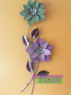 ภาพเหล็กดัดแขวนผนังตกแต่งบ้าน รูปดอกไม้ 2 ดอก