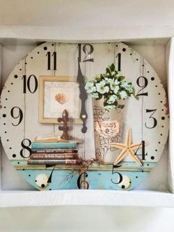 นาฬิกาติดผนัง Vintage รุ่นแจกันดอกไม้และปลาดาว
