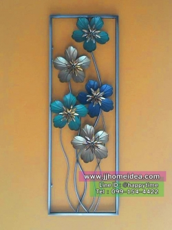 กรอบเหล็กดัดแขวนผนังตกแต่งบ้านเก๋ๆไม่เหมือนใคร ไซส์ใหญ่ รูปดอกไม้ 5 ดอก