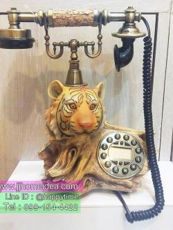 ของแต่งบ้านเก๋ๆ โทรศัพท์รูปสิงโตบนขอนไม้