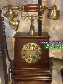 โทรศัพท์ไม้แบบโบราณสุดคลาสสิค ของใหม่ใช้งานได้จริง รหัสสินค้า AP-3252 งาน Reproduction