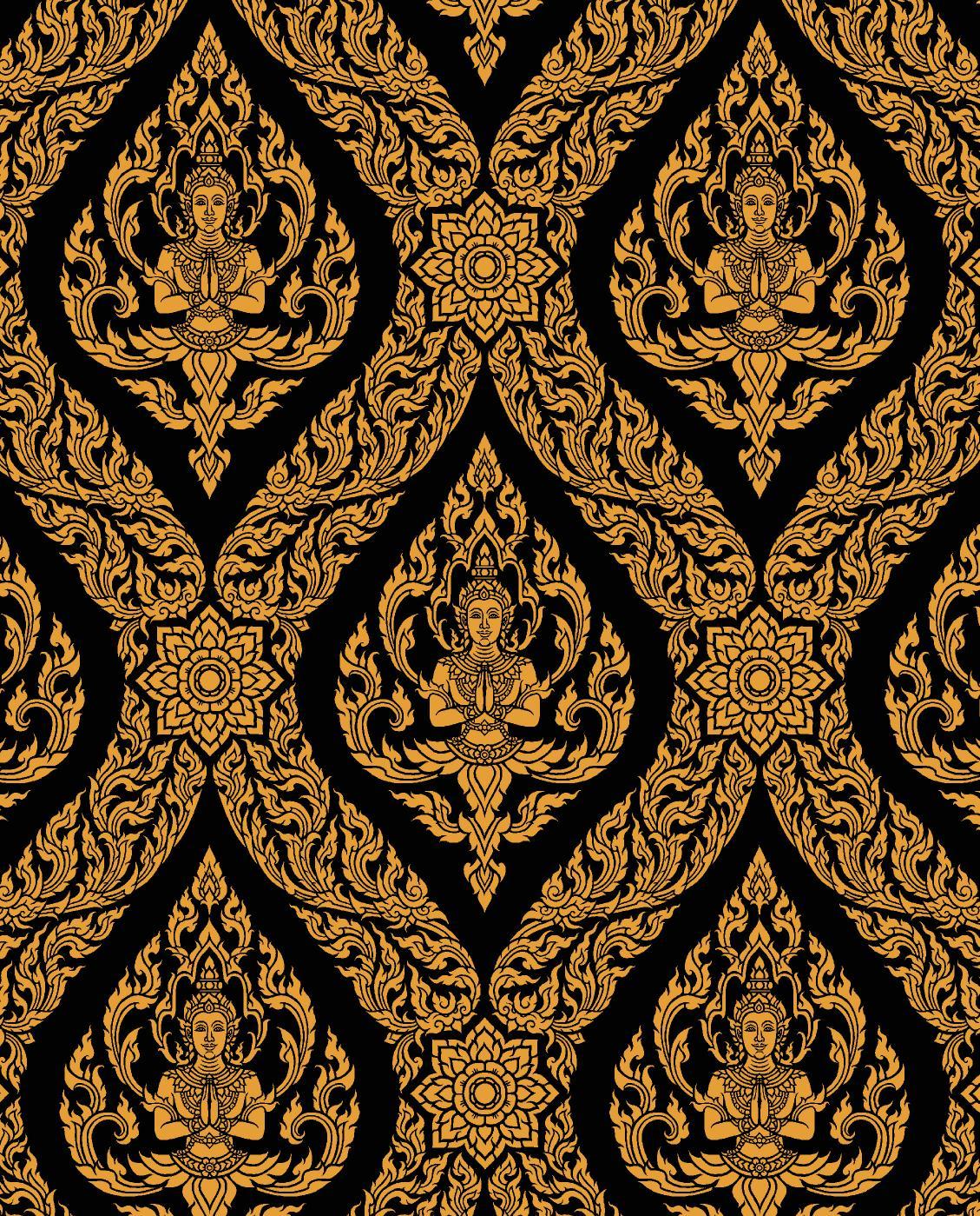 วอลเปเปอร์ลายไทย - ลายเทพพนม ทอง-ดำ