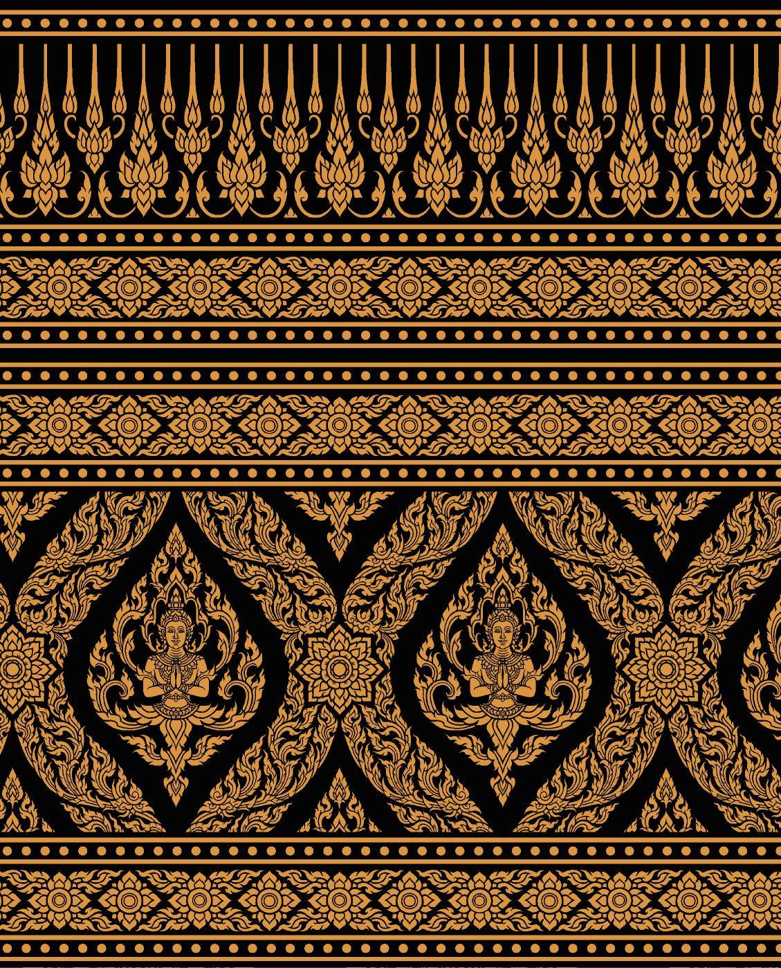 วอลเปเปอร์ (บอร์ดเดอร์) ลายไทย - ลายเทพพนม ทอง-ดำ : BD122-10