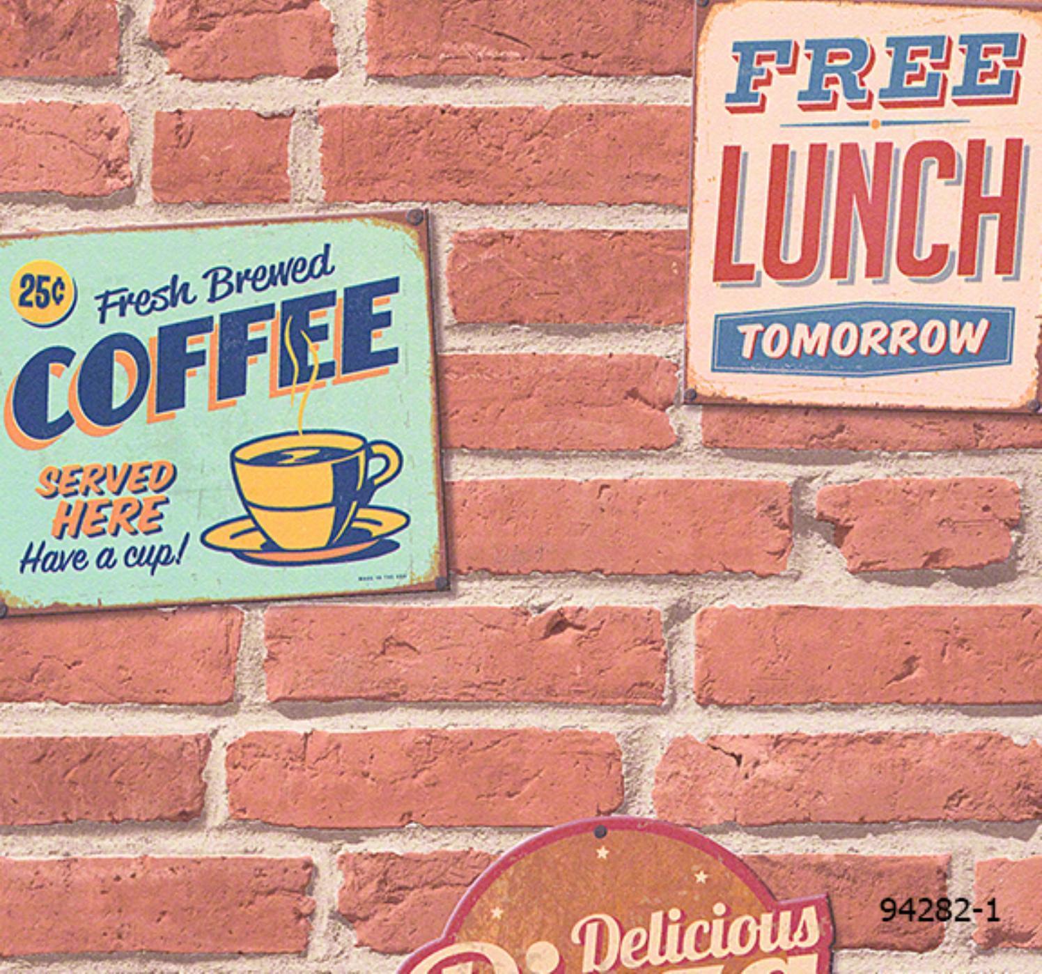 วอลเปเปอร์ลายอิฐ อิฐแดง/ส้ม+ลายเสริมร้านกาแฟ