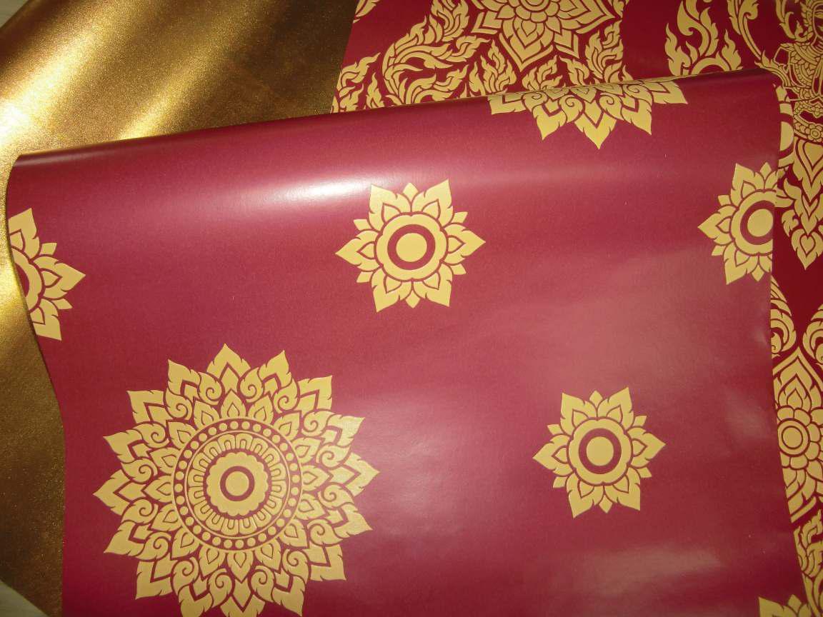 วอลเปเปอร์ลายไทย - ลายดาวสีทอง - แดง สำหรับติดเพดาน