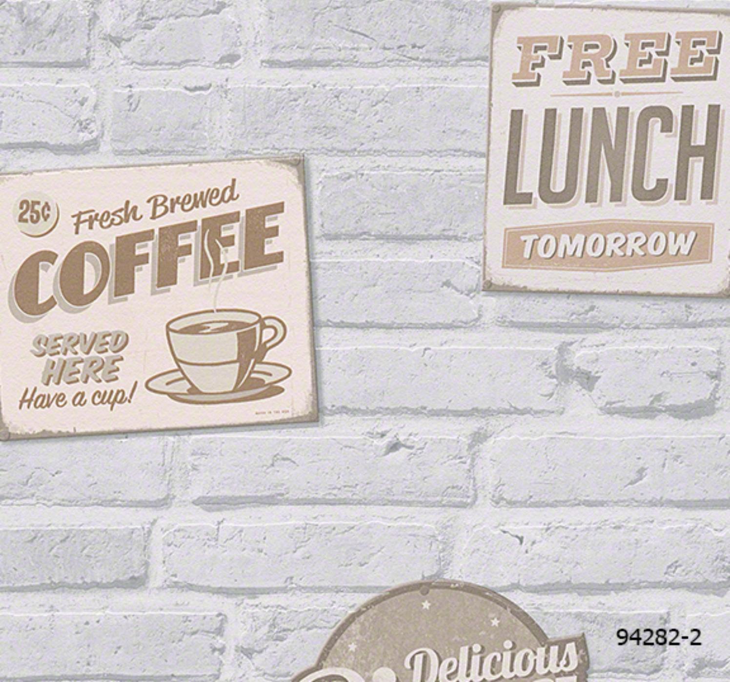 วอลเปเปอร์ลายอิฐเทา ดีไซน์สำหรับร้านกาแฟ