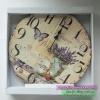นาฬิกาแขวนผนังวินเทจตกแต่งบ้านเก๋ๆ รูปแจกันดอกไม้ และผีเสื้อ