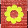 วอลเปเปอร์ 3 มิติ สีแดง cherry-ดอกไม้เขียว