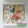 นาฬิกาวินเทจติดผนัง ไซส์กลาง รูปดอกกุกลาบและนก Home Sweet Home