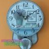 นาฬิกาไม้เก๋ๆติดผนังตกแต่งร้าน สไตล์วินเทจ พิมพ์ลายรูปดอกไม้ มีตุ้มแกว่งได้