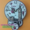 นาฬิกาแขวนขนาดเล็กติดผนังตกแต่งร้านสไตล์วินเทจ พิมพ์ลายสวยๆ หอนาฬิกา London