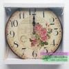 นาฬิกาวินเทจแขวนผนังเก๋ๆ รุ่น CARTE POSTALE พิมพ์ลายดอกกุหลาบ