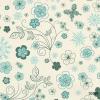 วอลเปเปอร์ลายดอกไม้สีฟ้า-เขียว