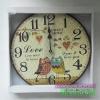 นาฬิกาแขวนผนังเก๋ๆ สไตล์ Vintage รุ่นนกฮูกคู่ Sweet Home