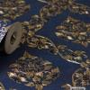 ลายดอกพุดตาน สีน้ำเงิน-ทอง