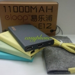 eloop E12 PowerBank(แบตสำรอง)2USB 11000mAh แท้100% มีสีฟ้า,กลม,ดำ,เหลือง