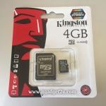 การ์ด Micro SD เมมโมรี่ การ์ด 4GB-Class 4 Kingstons แท้ 100% ลดราคา เหลือ 159 บาท