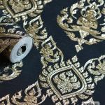 วอลเปเปอร์ลายไทย ลายเทพพนม สีดำ-ทอง