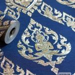 วอลเปเปอร์ลายไทย ลายเทพพนม สีน้ำเงิน-ทอง