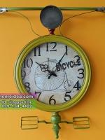 นาฬิกาแขวนติดผนังสไตล์วินเทจแนวๆ รุ่นแฮนด์จักรยานสีเหลือง ตัวเลขใหญ่