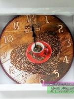 นาฬิกาแขวนติดผนังตกแต่งร้านกาแฟสไตล์ Vintage รูป Coffee ถ้วยแดง