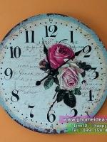 นาฬิกาแขวนติดผนังวินเทจ ขนาด 60 เซนติเมตร ลายดอกกุหลาบใหญ่