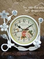 นาฬิกา Vintage ตั้งโต๊ะ รุ่นดอกไม้ขาว