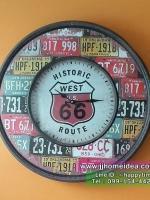 นาฬิกาแขวนผนังสไตล์ Vintage ขนาดใหญ่ งานเหล็ก ดีไซน์ป้ายทะเบียนรถอเมริกา