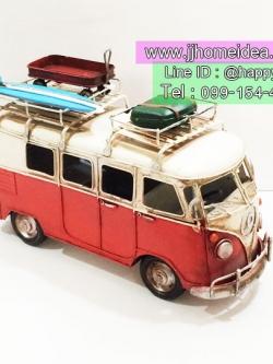 รถโฟล์คโมเดลเหล็กตั้งโชว์ตกแต่งบ้าน รุ่น 20101 ขาวแดง