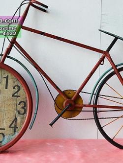นาฬิกาแขวนผนังเก๋ๆ สไตล์ Vintage รูปทรงจักรยานสีแดง หน้าปัดใหญ่ ทำจากเหล็ก