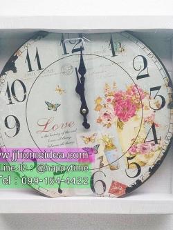 นาฬิกาแขวนผนังตกแต่งบ้านแนว Vintage รุ่นแจกันดอกไม้