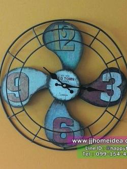 นาฬิกาติดผนังสไตล์วินเทจ สำหรับตกแต่งร้าน ดีไซน์เก๋ๆไม่เหมือนใคร รูปพัดลม