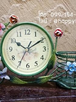 นาฬิกาตั้งโต๊ะ รุ่นดอกไม้ตะกร้าเขียว