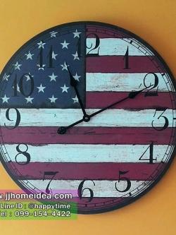 นาฬิกาแขวนติดผนังวินเทจ ขนาด 60 เซนติเมตร รูปธงชาติอเมริกา