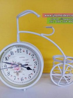 นาฬิกาตั้งโต๊ะตกแต่งบ้านสไตล์วินเทจ สีขาว รูปจักรยานมีตะกร้าด้านหลัง
