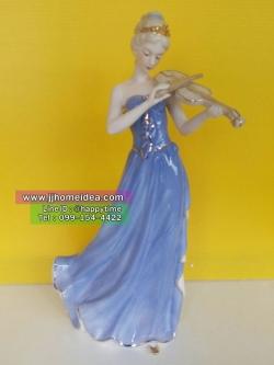 ตุ๊กตาพอร์ซเลนประดับตกแต่งบ้านเก๋ๆ รูปหญิงสาวเล่นไวโอลิน