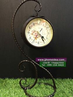 นาฬิกาตั้งโต๊ะสองหน้าตกแต่งบ้าน สีน้ำตาล ตัวเรือนห้อยแขวนกับแกนเหล็ก