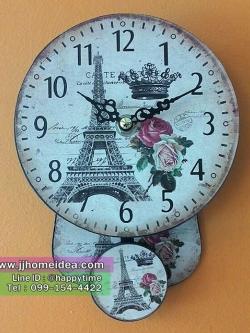 นาฬิกาไม้แขวนผนังพิมพ์ลายหอไอเฟล ขนาดจิ๋วๆน่ารักๆ มีตุ้มแกว่ง