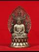 พระยูไล ศิลปะจีน(ทิเบต) ฐาน4นิ้ว สูง7.8นิ้ว เนื้อทองเหลืองขัดเงินโบราณ