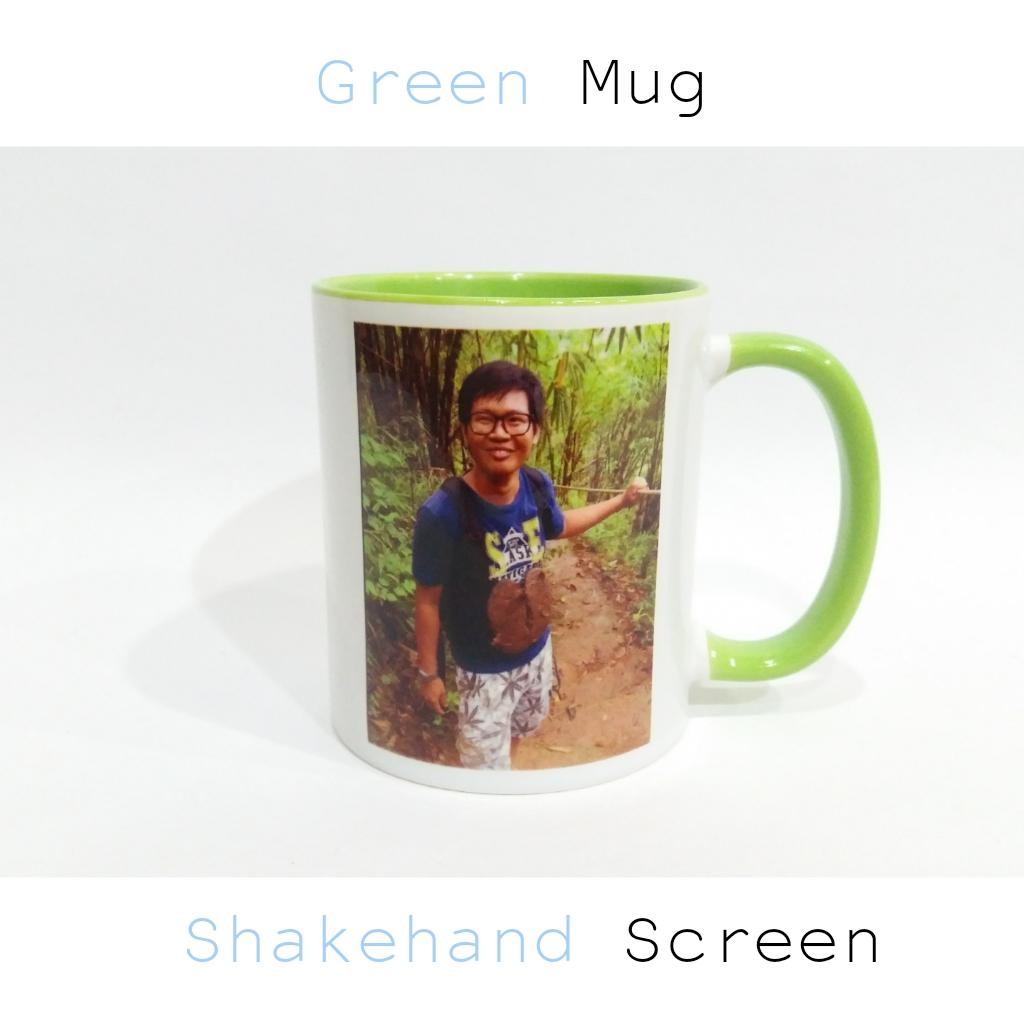 แก้วเซรามิคหูสีเขียวพร้อมสกรีน