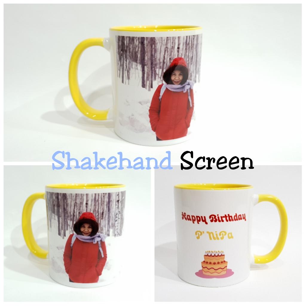 แก้วมัคสกรีนภาพถ่ายและสกรีนตัวอักษร