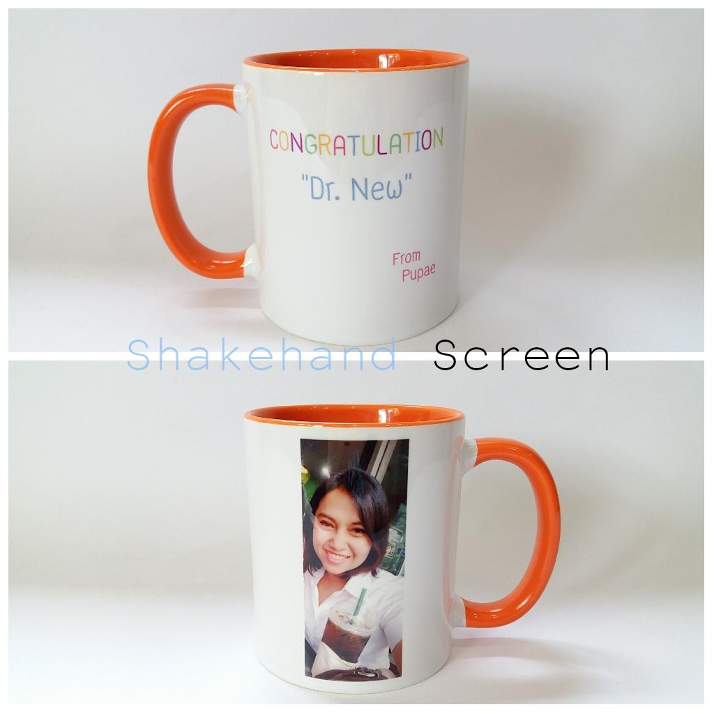 แก้วมัคหูสีส้มสกรีนภาพถ่าย