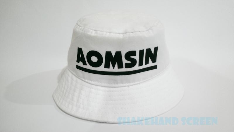 สกรีนหมวกบักเก็ตสีขาว