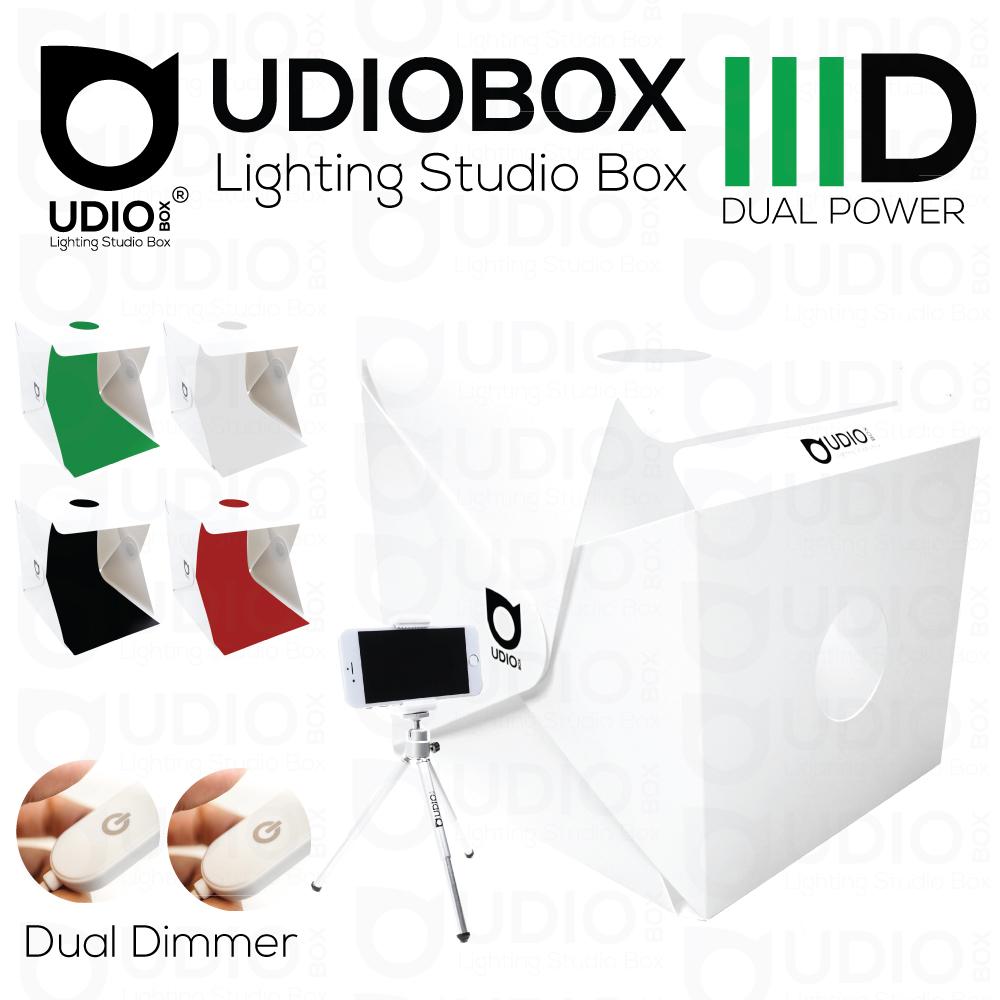 UDIOBOX IIID (UDIOBOX 30D) DUAL POWER สตูดิโอพับได้ พกพาถ่ายภาพสินค้า พร้อมไฟ LED 4 แถวในตัว แถมฉากหลังให้ 5 สี ขนาด 30x30x30 ซม