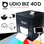 UDIOBIZ 40D ขนาด 40x40x40 ซม ปรับแสงได้ สตูดิโอพกพาแบบกระเป๋า พร้อมไฟ LED 4 แถวในตัว พับเก็บเปิดใช้งานได้ภายใน 10 วินาที