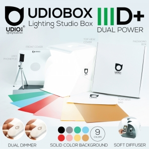 UDIOBOX IIID+ (UDIOBOX 30D+) DUAL POWER PLUS สตูดิโอพับได้ พกพาถ่ายภาพสินค้า พร้อมไฟ LED 4 แถวในตัว แถมฉากหลังให้ 9 สี ขนาด 30x30x30 ซม